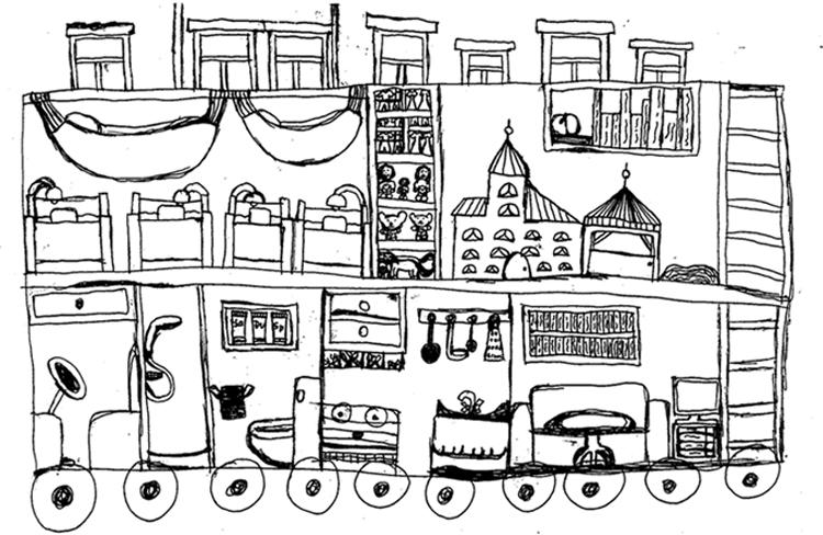 Traumbus für Urlaub, gezeichnet von Mia, 10 Jahre alt